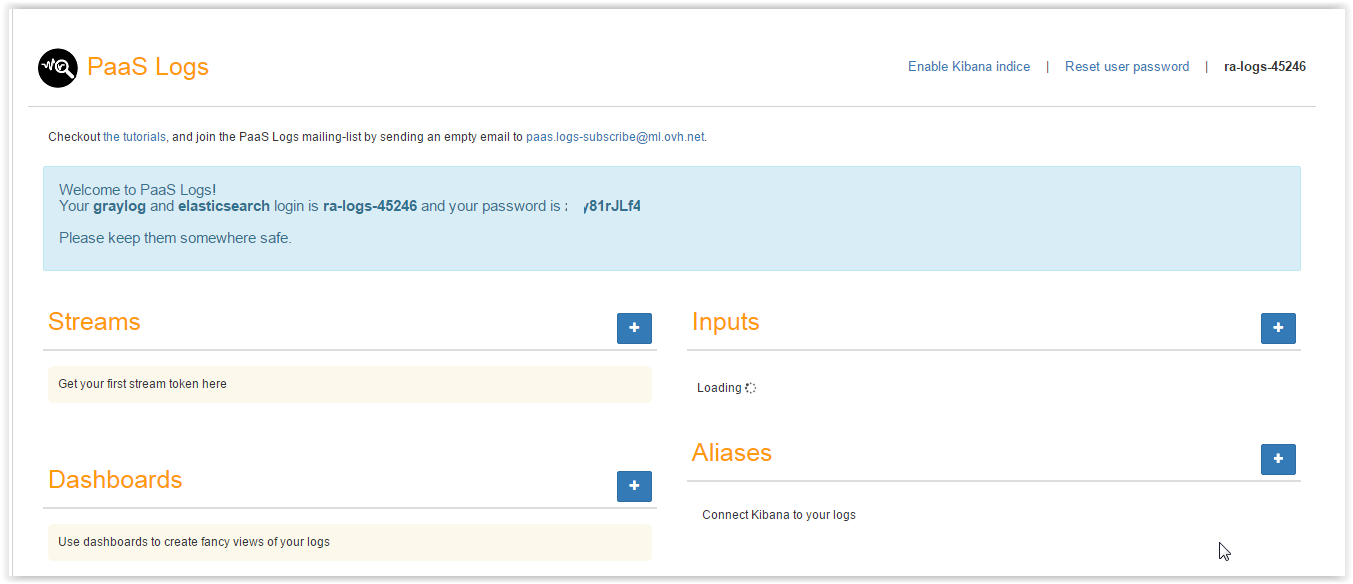 paas logs account creation
